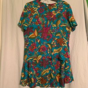 Vintage Skirt Top Set Floral Tropical Size 8/10